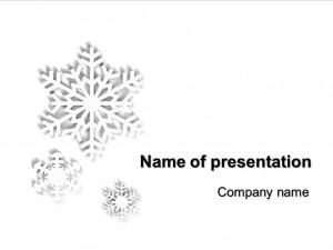 White Snowflakes powerpoint template presentation